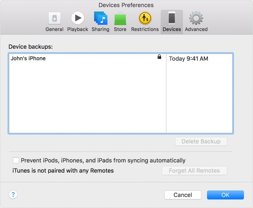 Transfer contacts from iPhone to iPhone-Restore Backup