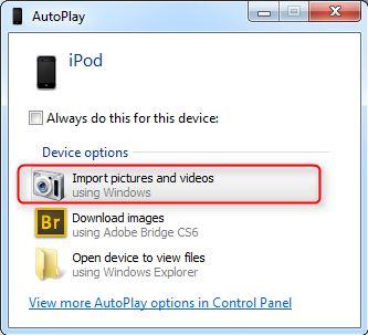 Transferir fotos de iPod a iPhone - Importar fotos y videos