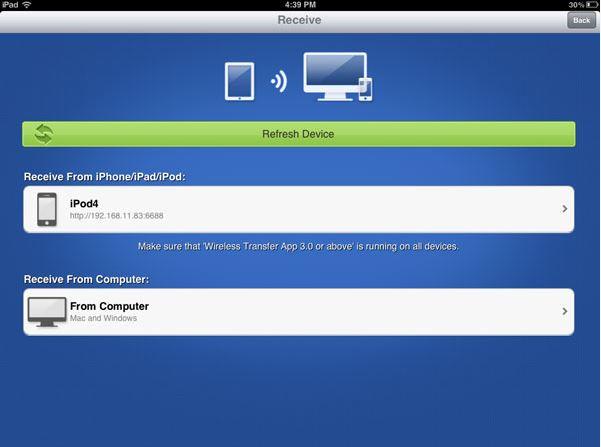 Transfiera fotos del iPod al iPhone - Seleccione fotos y ajuste