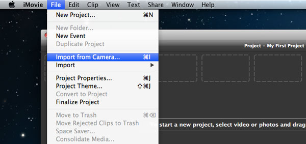 How to transfer video from iPhone to iMovie-import from camera
