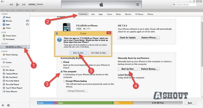 Transfer apps from iPhone to iPhone-itunes