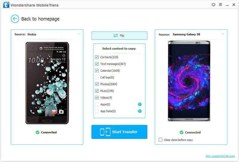 Cómo transferir archivos desde Nokia a Samsung S8-iniciar transferencia