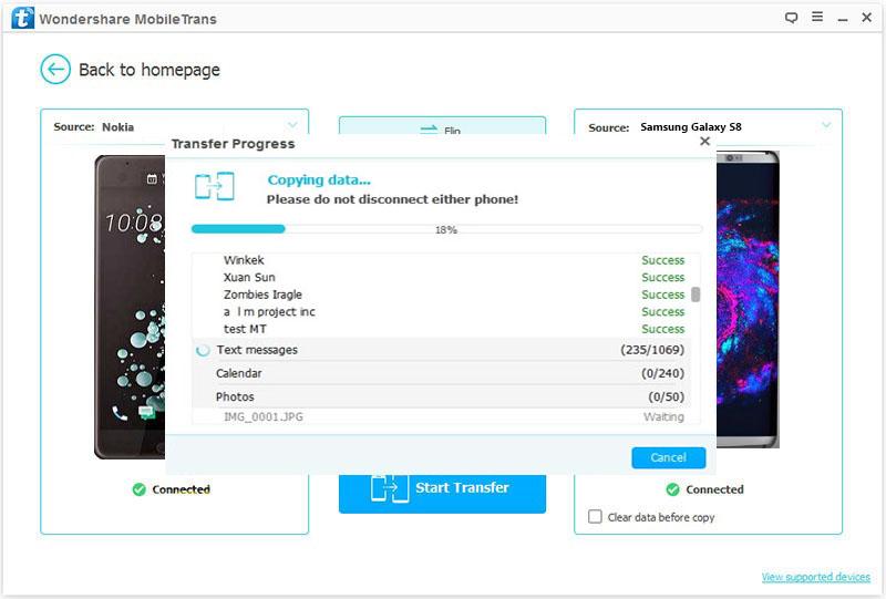 Cómo transferir archivos de Nokia a Samsung S8-transferir