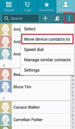 Comment Sauvegarder les contacts-cliquer-menu-Étape 2