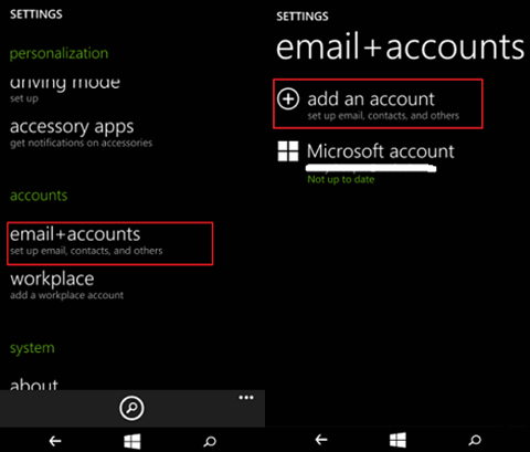 How to backup Windows Phone Contacts-add an account