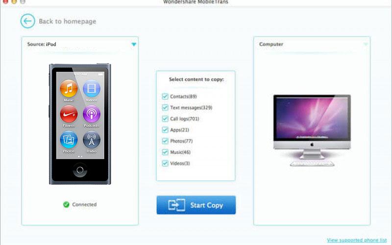 Top 5 iPod to Mac Transfer tool -Start-transfer-Step-2