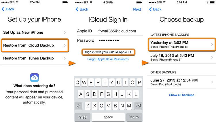 iCloud Backup via iCloud