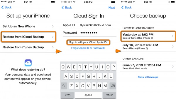 How to restore photos from iCloud -iCloud backup