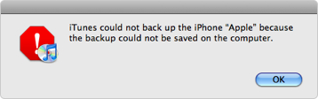 iTunes Backup and restore solutions-backup could not be saved