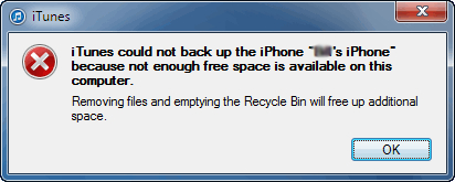 iTunes Backup and restore solutions-No enough space