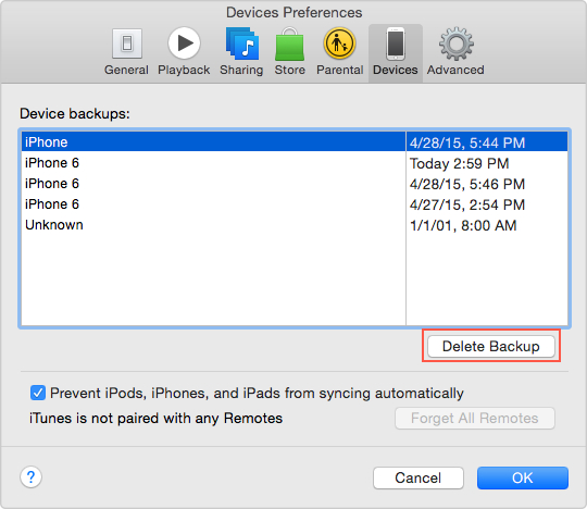iTunes Backup and restore solutions-delete old backups