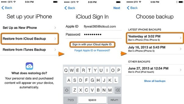 How to backup iphone ipad with icloud-Restore from iCloud Backup