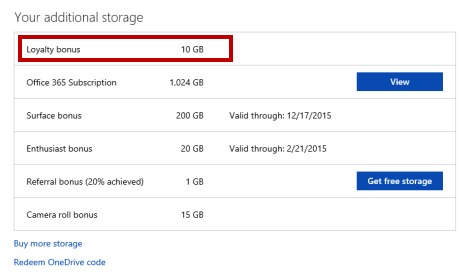 Get more free onedrive storage-Free Space for Being Loyal