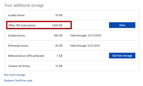 Get more free onedrive storage-Office 365 Subscription