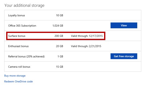 Get more free onedrive storage-Surface bonus