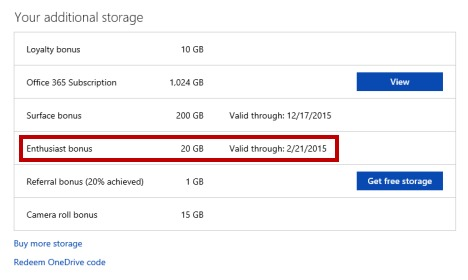 Get more free onedrive storage-Enthusiast bonus