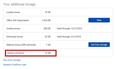 Get more free onedrive storage-Camera roll bonus