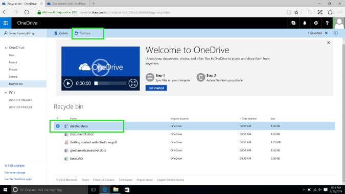 How to Restore Onedrive files -ondrive web