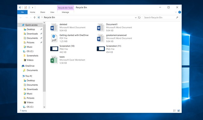 How to Restore Onedrive files -recycle bin