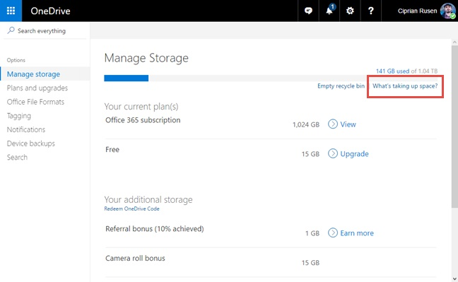 fix Onedrive not syncing-Manage your storage