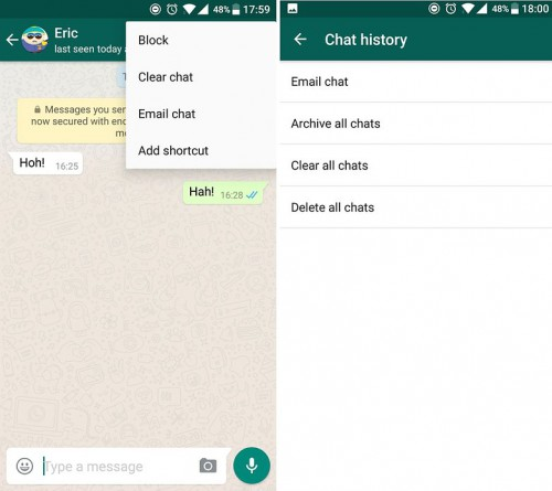 Whatsapp tips and tricks-Clear Chat