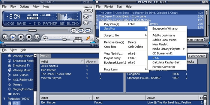 Music from iTunes to iPod-Winamp