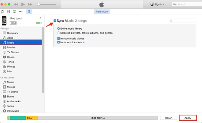 Music from iTunes to iPod-Sync Music