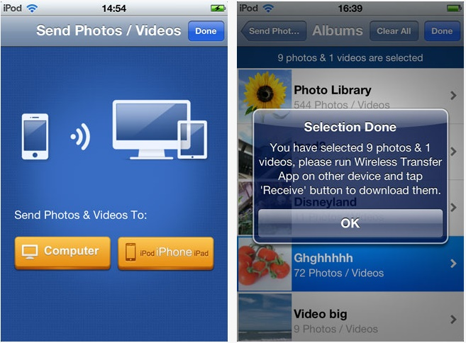 Transfer photos from iPhone to iPod Touch-Wireless Transfer App