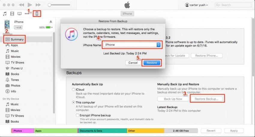 Contatti da iPod touch a iphone-itunes