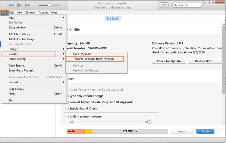Extract Music from iPod to PC-transferring