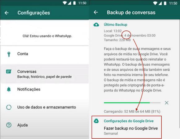 fazer backup conversas WhatsApp com Google Drive