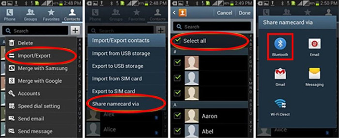 android contacts transfer with bluetooth