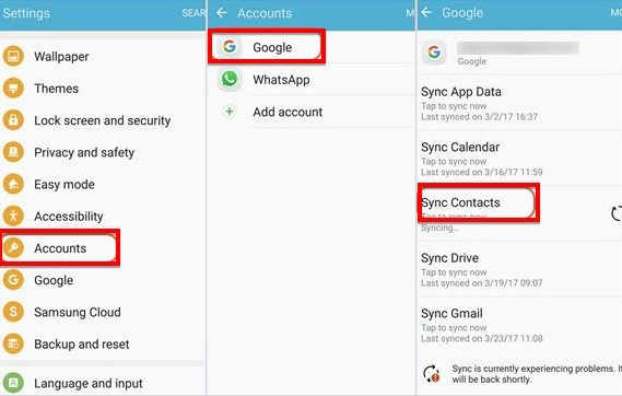 android contacts transfer with google account