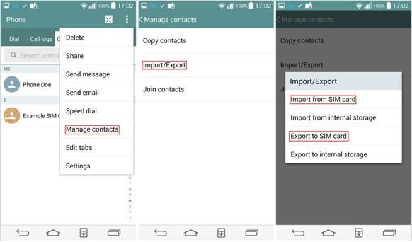 android contacts transfer with sim card