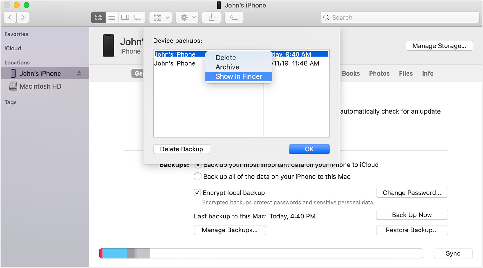 Find specific backup from the Mac