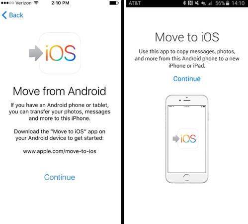 Transferencia de datos de Android a iOS con la aplicación Move to iOS 3