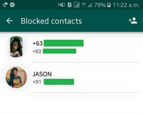 WhatsApp Blocked Contacts