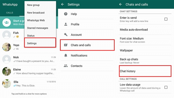 WhatsApp Settings Chats Chat History Options