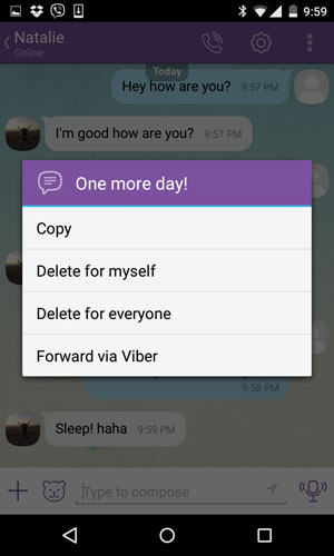 delete viber selective messages