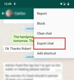 export whatsapp chats pdf email 2