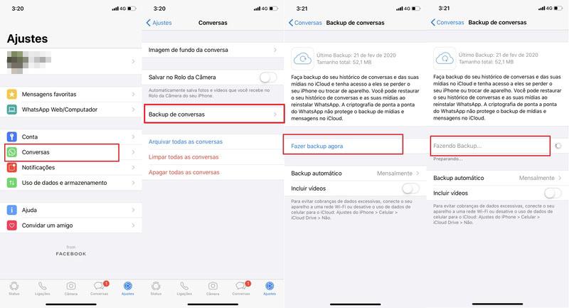Backup Manual para Fazer Backup WhatsApp iPhone