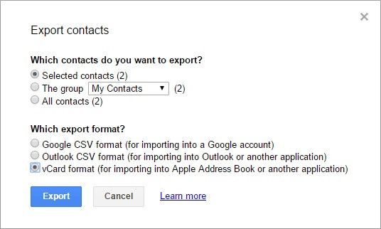 Exporter-contacts