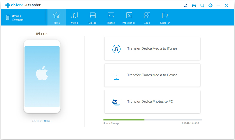 transfer photos from iphone to android-Click on the 'Transfer' tab