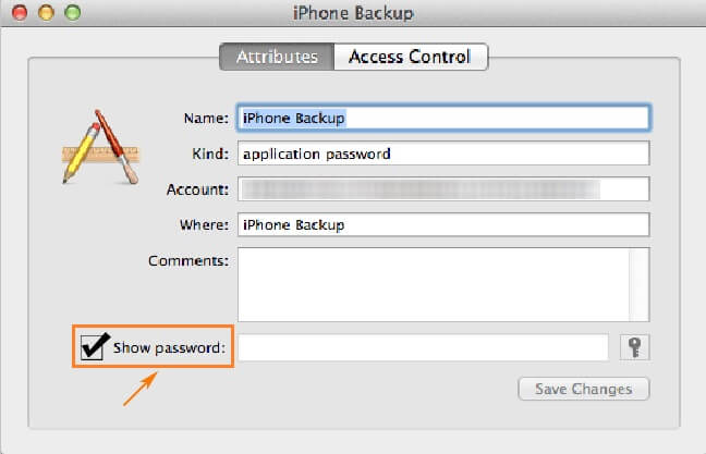 show iTunes backup password
