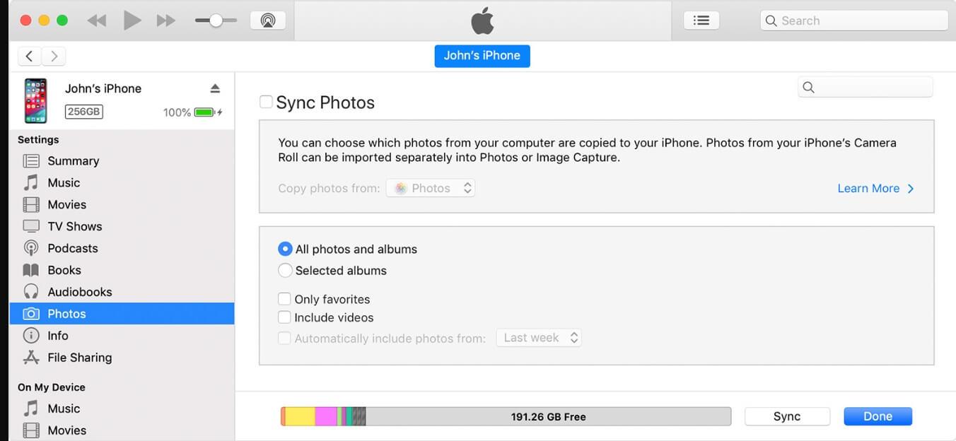 Icône du dispositif de sauvegarde des photos d'iTunes