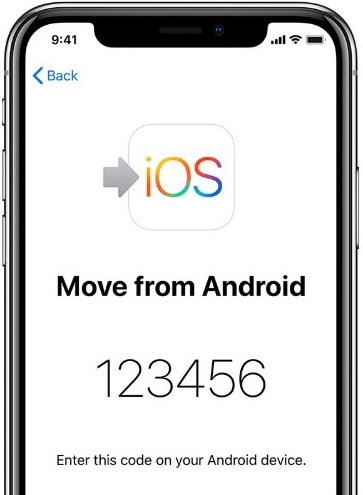 Enter the code on iPhone when using Move to iOS