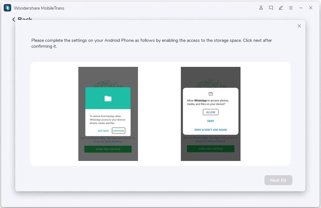 Restaurando o backup do WhatsApp com MobileTrans