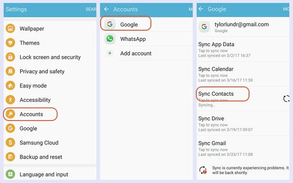 sync contacts google samsung