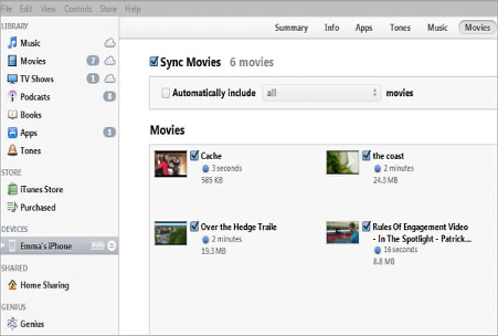 sync movies to itunes