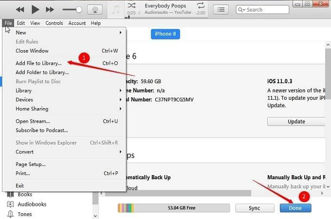 sync music itunes to iphone 2